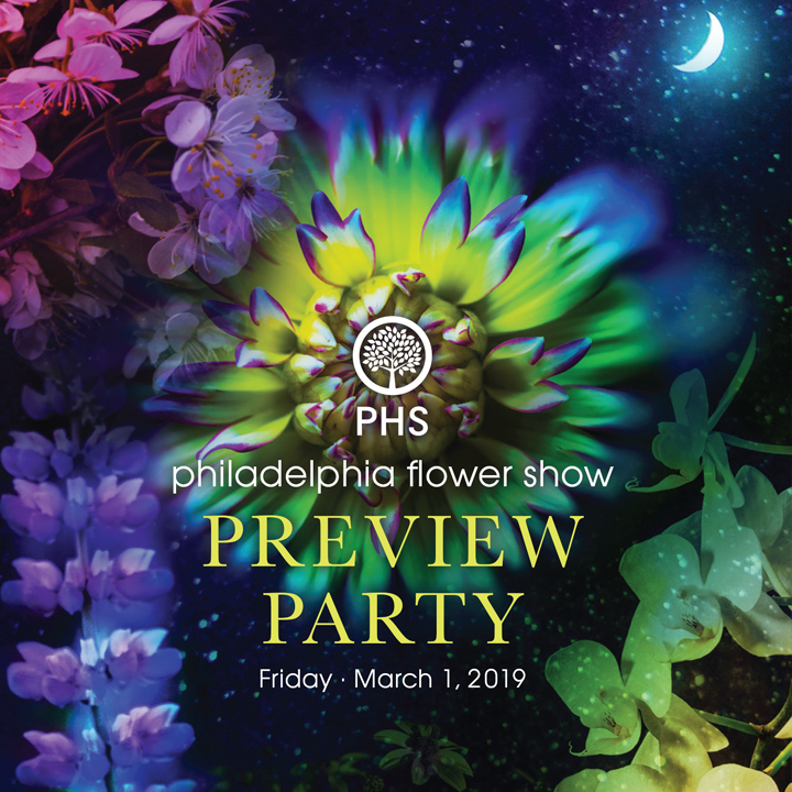 Invitation to the 2019 Philadelphia Flower Show Preview Party.