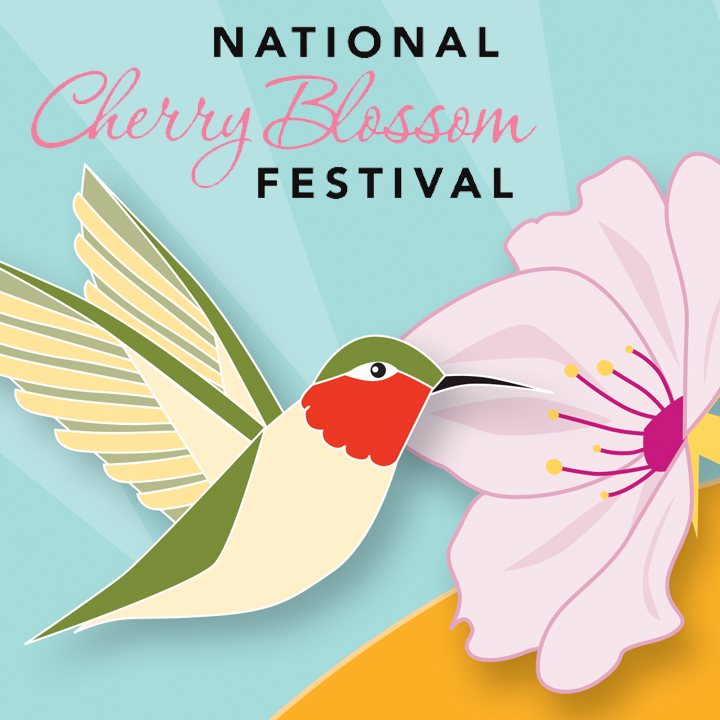 Two designs that were chosen as finalists for the 2018 National Cherry Blossom Festival poster contest.