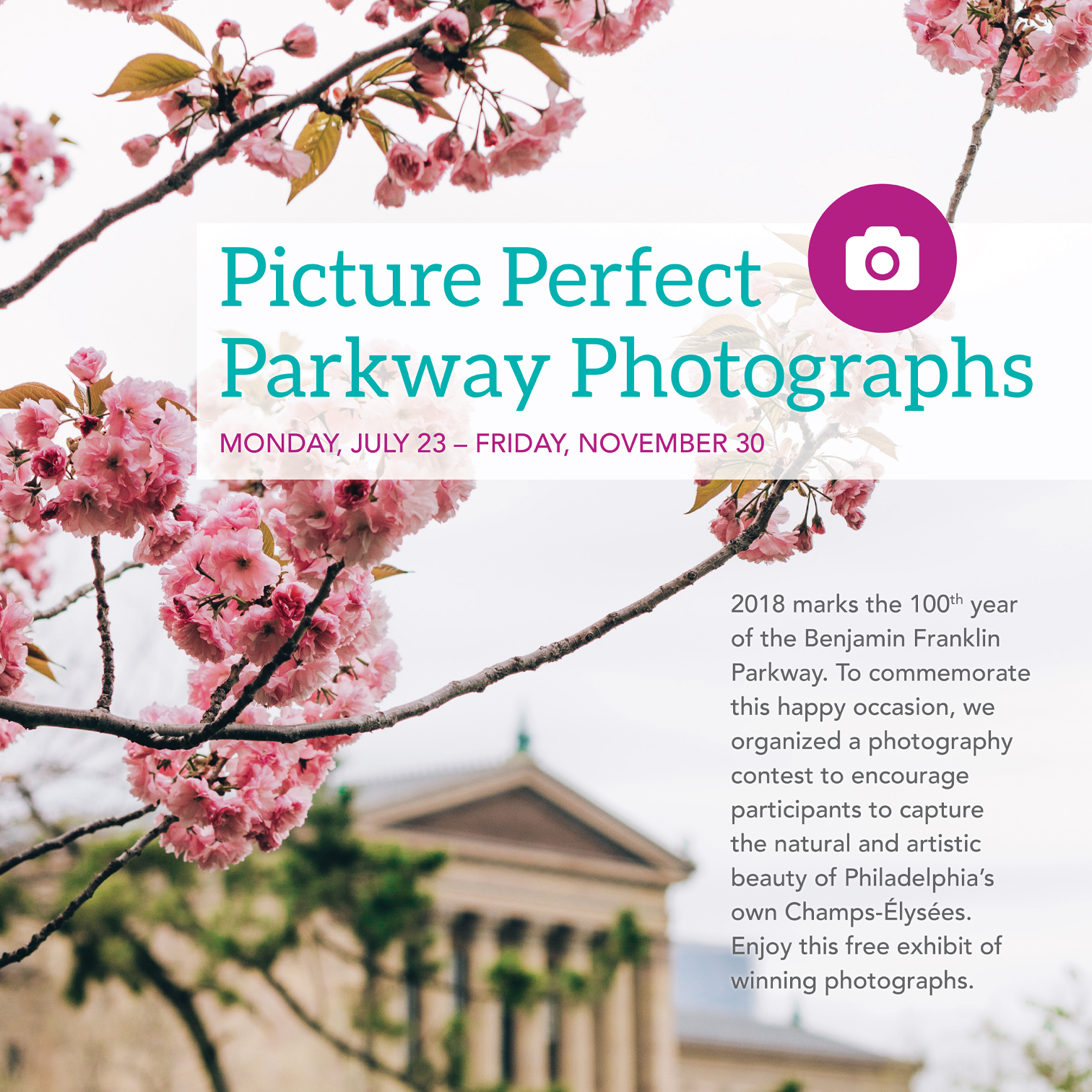 Poster for the Picture Perfect Parkway Photographs exhibit in the PHS McLean Library.