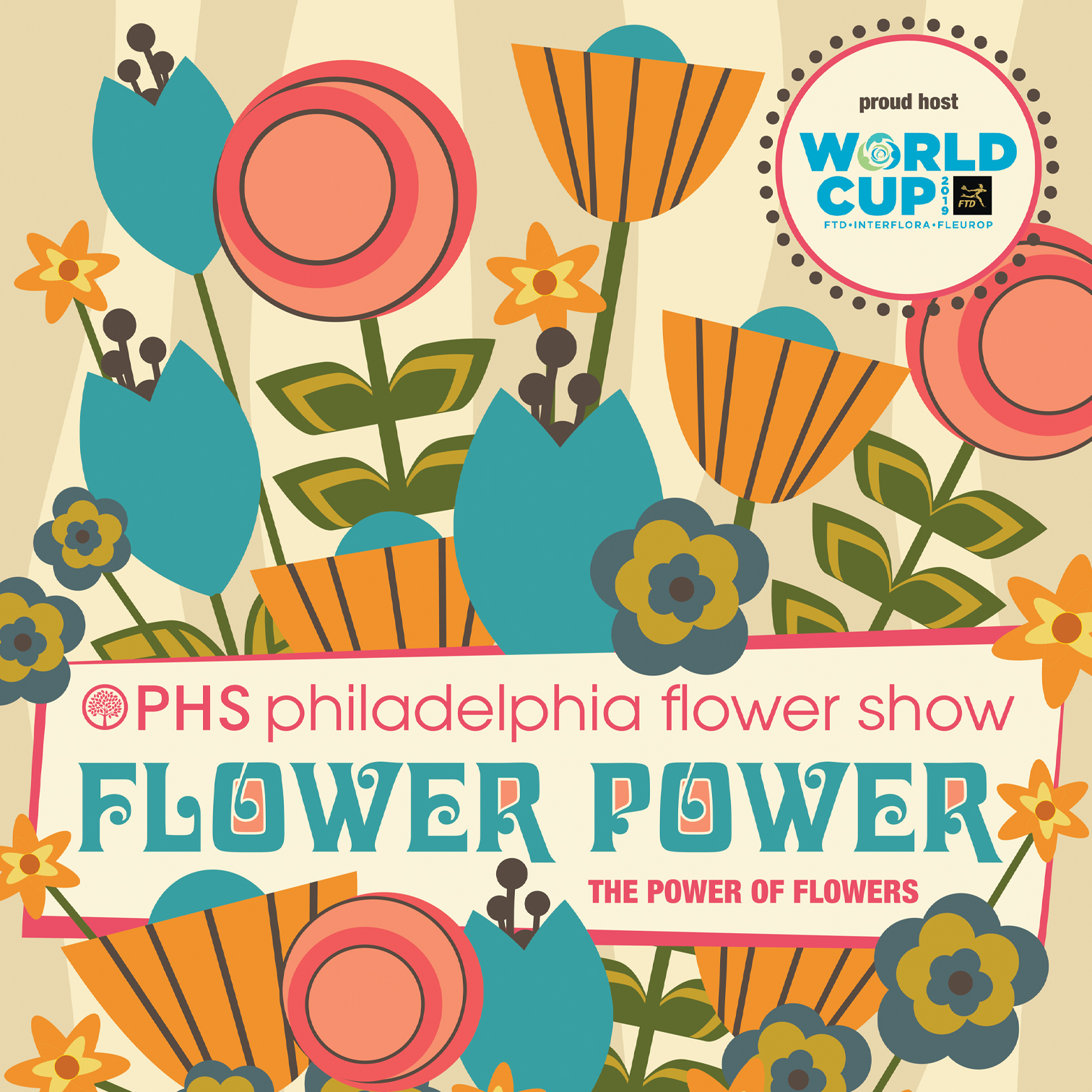 An alternate option for the 2019 PHS Philadelphia Flower Show poster that was not chosen.