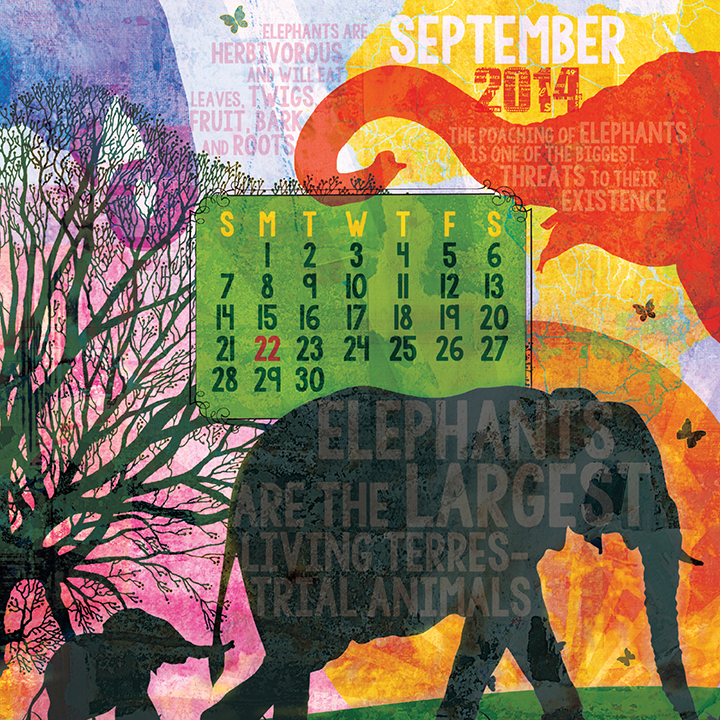 Design and illustration for the September 2014 page of the annual Disc Makers desktop calendar.