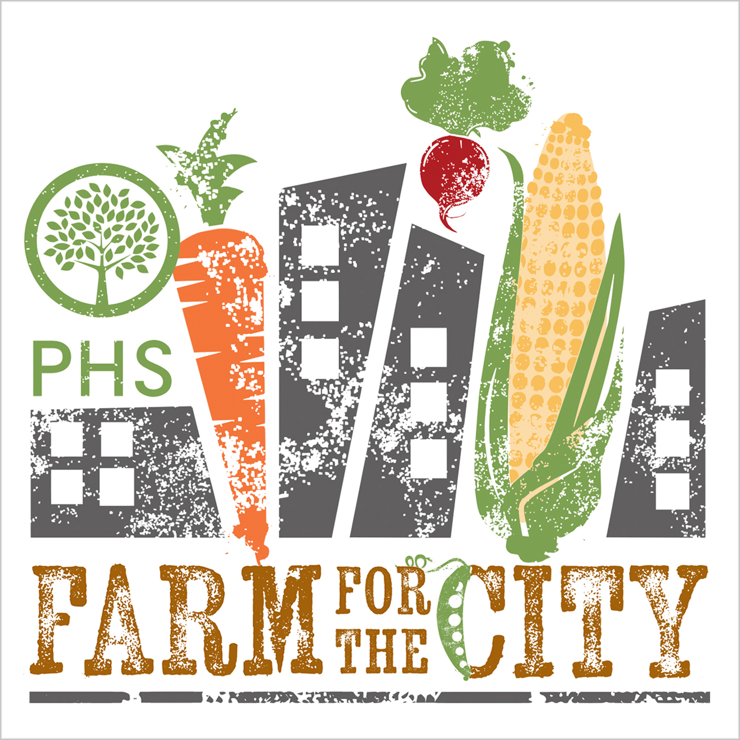 Logo for PHS Farm for the City, a temporary garden installation intended to bring attention to how community gardens can help provide food to those in need.