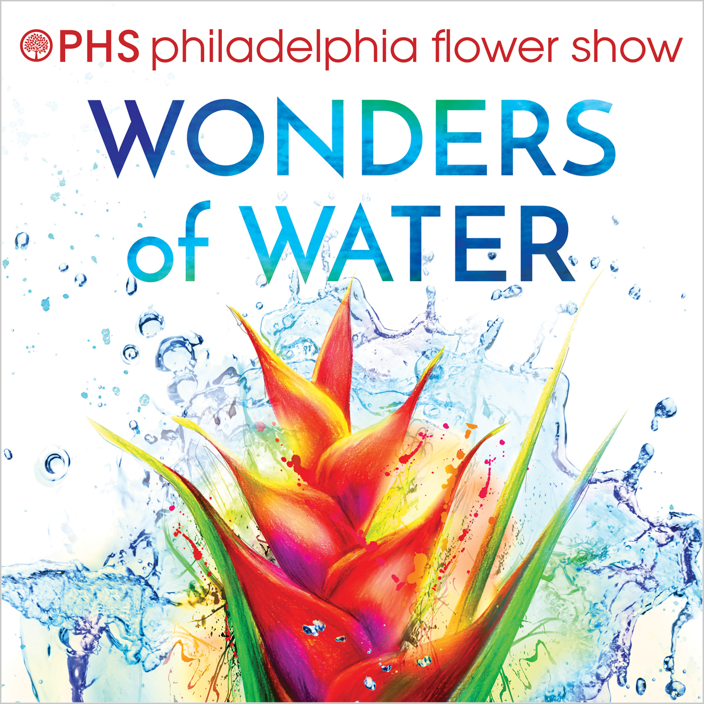 Merchandise designs for the 2018 PHS Philadelphia Flower Show, such as seed packets, t-shirts, keychains, coasters, mugs, tote bags, tumblers, and more.