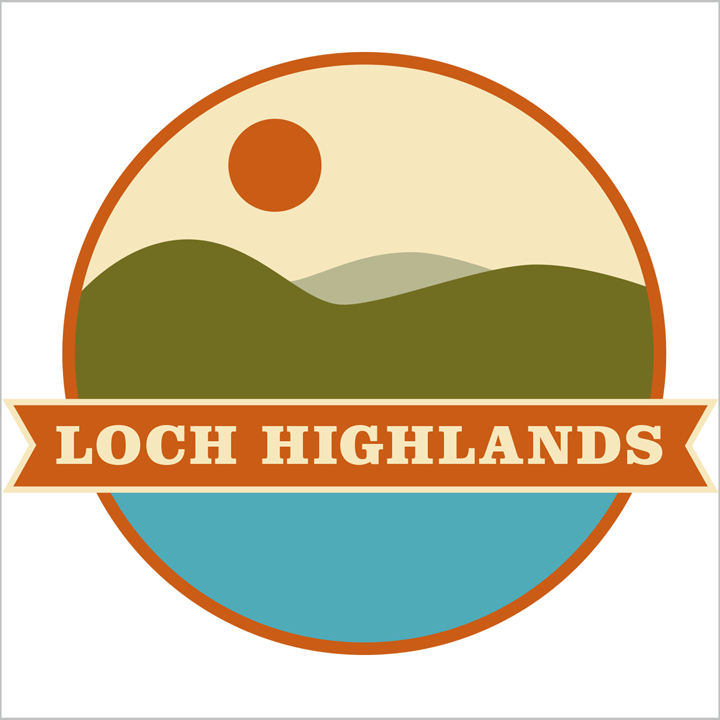 Logo for Loch Highlands cottage rentals on Lake Wallenpaupak in PA.