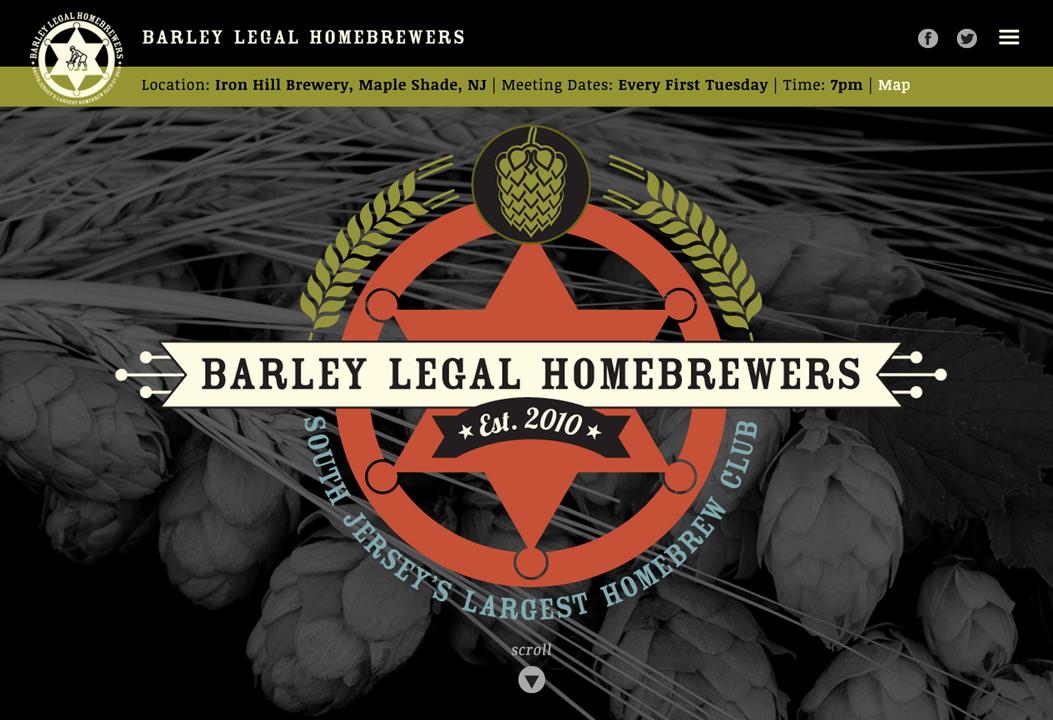 Website design for the Barley Legal Homebrewers homebrew club